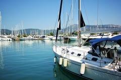 Gouvia小游艇船坞,科孚岛,希腊 库存照片