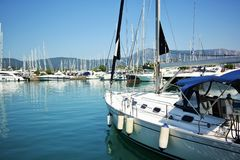 Gouvia marina, Korfu, Grekland Arkivfoto