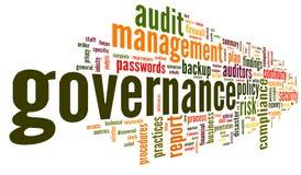 Governança e conformidade na nuvem da etiqueta da palavra Fotos de Stock