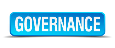 Governance blue 3d realistic square button. Governance blue 3d realistic square isolated button Royalty Free Stock Photo