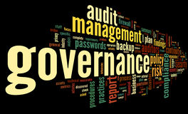 Governance and compliance in word tag cloud stock photography