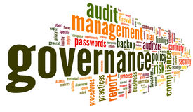 Governance and compliance in word tag cloud. On white Stock Photos