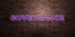 GOVERNANCE - fluorescent Neon tube Sign on brickwork - Front view - 3D rendered royalty free stock picture. Can be used for online banner ads and direct Stock Photography