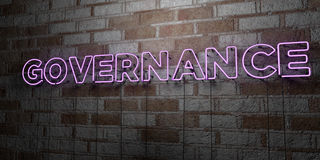 GOVERNANCE - Glowing Neon Sign on stonework wall - 3D rendered royalty free stock illustration. Can be used for online banner ads and direct mailers Royalty Free Stock Image