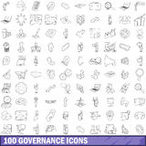 100 governance icons set, outline style. 100 governance icons set in outline style for any design vector illustration Stock Image
