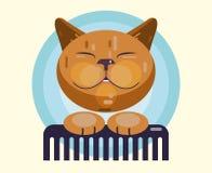 Governare del gatto Taglio di capelli, pettinantesi ed animali domestici governare illustrazione di stock