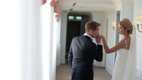 Governi baciare la mano del ` s della sposa in palazzo video d archivio