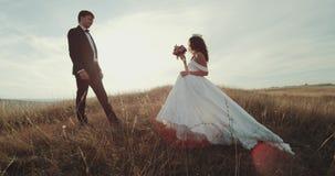 Governi il supporto in mezzo a paesaggio ed alla sposa che camminano a lui, tenendosi e baciare stock footage