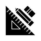 Governi la penna e la gomma - gli strumenti l'icona, l'illustrazione di vettore, segno nero del grafico su fondo isolato illustrazione vettoriale
