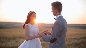 Governi mettere una fede nuziale sul dito del ` s della sposa Cerimonia di nozze al tramonto stock footage