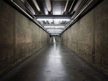 Government Basement Tunnel. Long basement tunnel connecting government buildings in a large north american city Stock Image