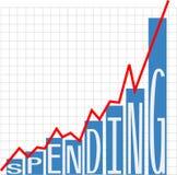 Government big spending deficit chart vector illustration