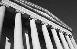 Government Building. An angled view of the detailed architecture of a city government building royalty free stock photos