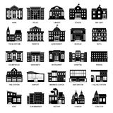 Government building black icons. City hospital and restaurant, university and museum buildings vector icon set Royalty Free Stock Photography