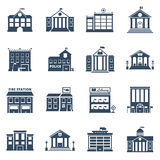 Government Building Black Icons Set. Of fire station library prison post office  vector illustration Royalty Free Stock Image