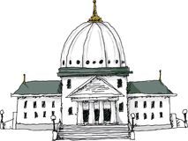 Government Building. Cartoon of a generic public government building with a dome and columns royalty free illustration