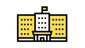 government building color icon animation