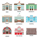 Government building colored icons. Isolated on white background. Bank and fire office, university and library vector illustration Stock Images
