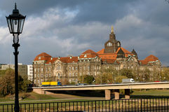 Government Building In Dresden, Germany. Government building behind Carolbrucke Bridge and Elbe River royalty free stock photography