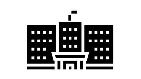 government building glyph icon animation
