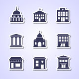 Government building icons Royalty Free Stock Image