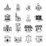 Government building icons set Royalty Free Stock Photo