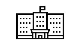government building line icon animation