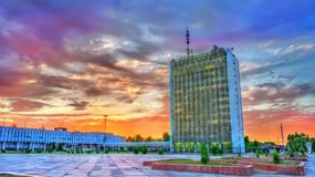 Government building in Navoi, Uzbekistan. Government building in Navoi, a city in southwestern Uzbekistan. Central Asia Royalty Free Stock Images