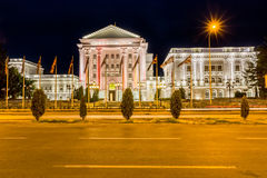 Government building by night in Skopje Stock Images