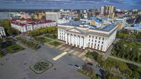 Government building of the Tyumen region, summer, Tyumen. Building of the Government of the Tyumen region, the Central square from a height, summer 2018, the stock images
