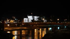 Government building and Vardar River at Skopje Macedonia stock video footage