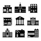 Government buildings black and white icons Royalty Free Stock Image