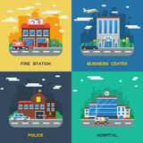 Government Buildings 2x2 Flat Design Concept. Set of fire station business center police and hospital vector illustration Royalty Free Stock Photos
