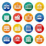 Government Buildings Flat Icons Stock Image
