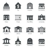 Government buildings icons. Government building icons set of police museum library theater isolated vector illustration royalty free illustration
