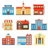 Government buildings icons. Government building icons set of police shop church isolated vector illustration stock illustration