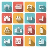 Government buildings icons Royalty Free Stock Photography