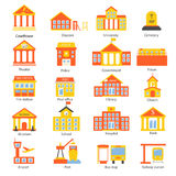 Government buildings icons set Stock Images