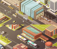 Government Buildings Isometric Banners Set. Government buildings isometric horizontal banners set with establishment symbols  vector illustration Stock Photography