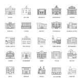 Government buildings line icons Royalty Free Stock Photo