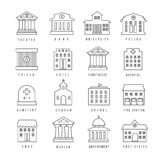 Government buildings lined signs. Firehouse and courthouse, library city bank outline icons Royalty Free Stock Images