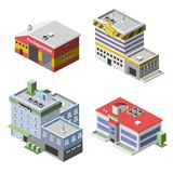 Government Buildings Set. Government buildings 3d isometric set with fire department police hospital school isolated vector illustration vector illustration