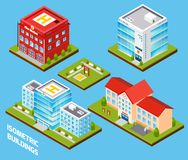 Government Buildings Set. Government buildings 3d isometric set with fire station police hospital school isolated vector illustration stock illustration