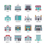 Government buildings vector flat icons set. City buildings university and courthouse, theater and police, illustration of fire station building Stock Photo