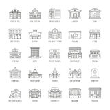 Government buildings vector thin line icons set. Building house police and courthouse, illustration of buildings prison and church Stock Images
