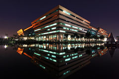 Government Complex Building shines at Night Stock Photo