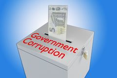 Government Corruption concept. 3D illustration of Government Corruption script on a ballot box, and a money bill been inserted into the ballot box, isolated over Royalty Free Stock Photo