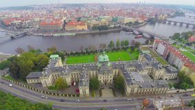 Government of Czech Republic in Prague aerial, seat of Cabinet. Stock footage stock footage