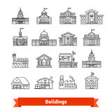 Government and educational public building set royalty free illustration