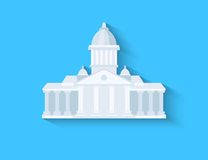 Government flat design. With long shadow on blue background royalty free illustration